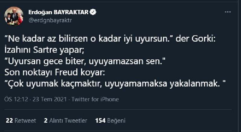 Erdoğan'ın eski bakanından 'uyku' paylaşımı: Çok uyumak kaçmaktır