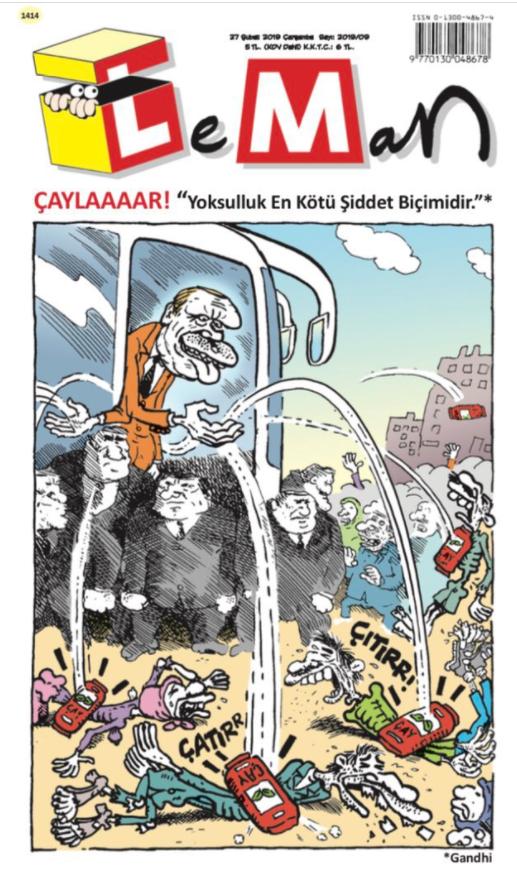 LeMan, Rize'de çay fırlatan Erdoğan'ı kapağına taşıdı