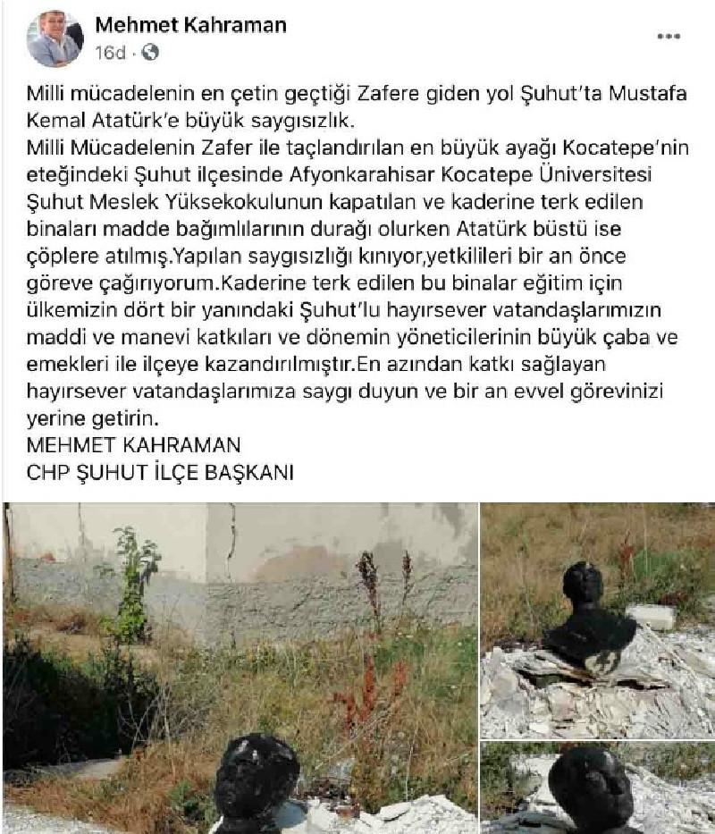 Mustafa Kemal Atatürk'ün büstü yakılarak çöpe atıldı