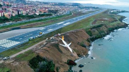 Pistinde çatlak oluşan Trabzon Havalimanı'nda uçuşlar iptal edildi