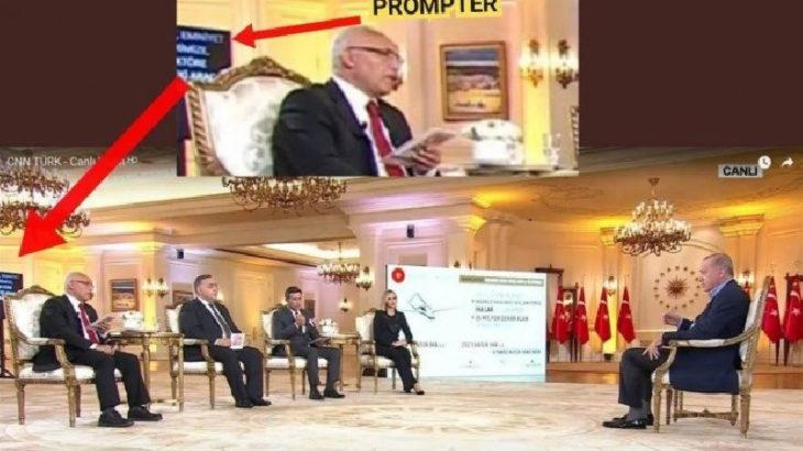 Erdoğan'ın televizyon programına prompterla katılması gündeme oturdu