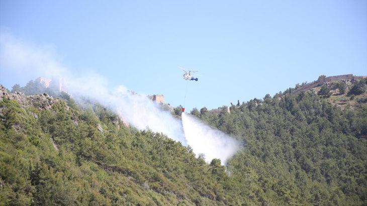 Antalya'nın Alanya ilçesinde ormanlık alanda yangın çıktı