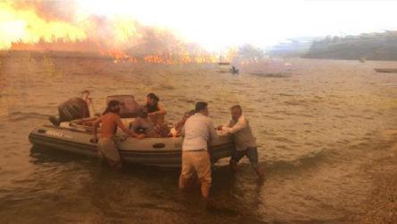 Bodrum'da alevler Mazıköy'e ulaştı: Yurttaşlar denizden tahliye ediliyor