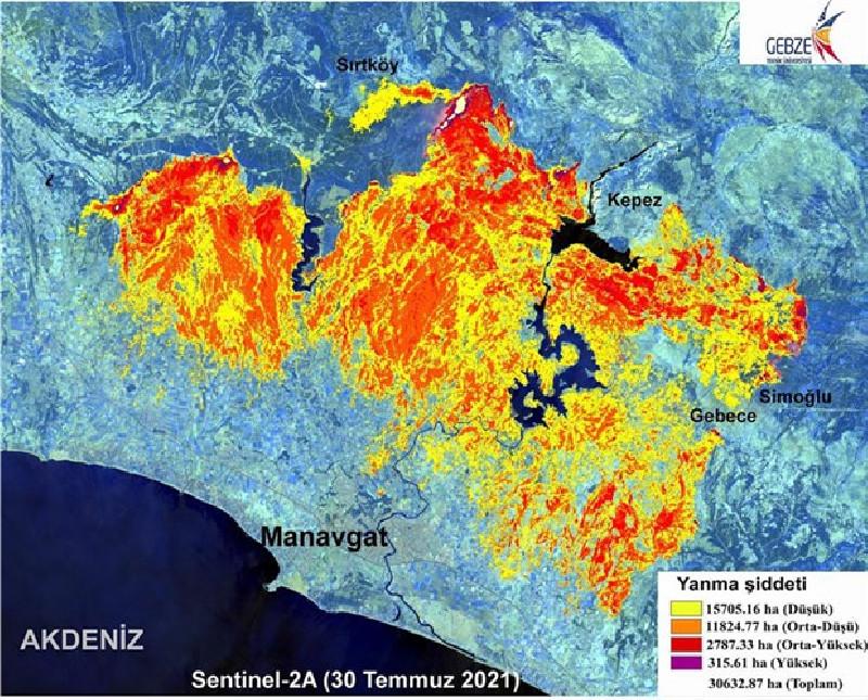 Manavgat'taki yangının  ormanlarda yaptığı tahribat haritalandırıldı: Yüzey sıcaklığı 95 derece