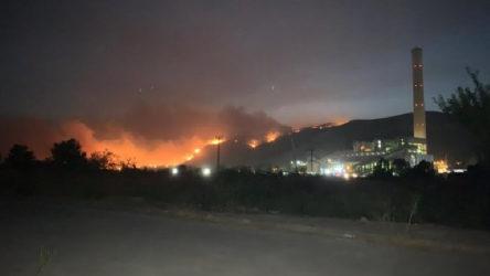 Alevler Milas'ta bulunan termik santrale ilerliyor