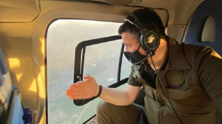 """""""Pakdemirli yangın bölgesine gece görüşü olan helikopterle geldi"""""""