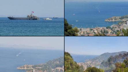 Yangından etkilenen Marmaris Turunç çıkartma gemileriyle tahliye ediliyor