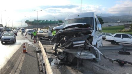 İşçi servisi kaza yaptı: 6 yaralı