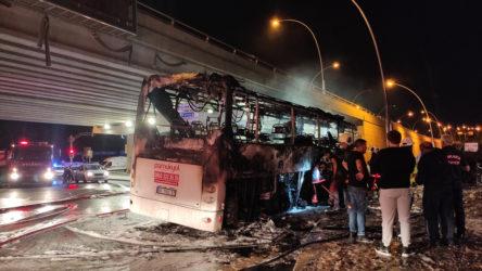 Ankara'da yolcu otobüsü yangını: Ölü sayısı 2'ye yükseldi