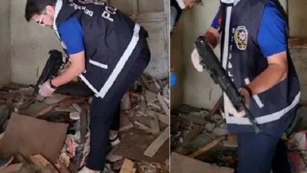 Polis ekipleri metruk binada arama sırasında otomatik silah buldu