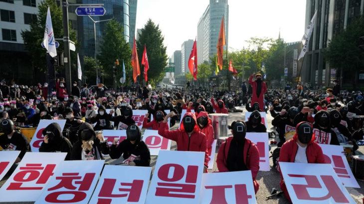Güney Kore'li işçiler, çalışma koşullarının iyileşmesi için sokaklardaydı